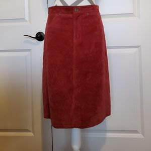 GAP red suede leather pencil skirt